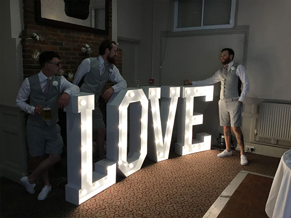 "LED ""LOVE"" hired at a wedding at the Talbot  Inn, Ripley"