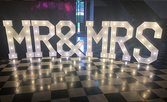 "Our beautiful LED ""Mr&Mrs"" lights on hire to a wedding at Shepperton Studios"