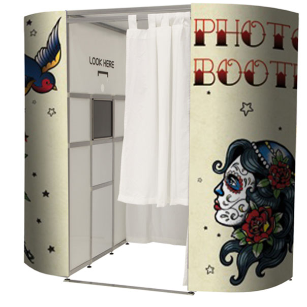 This is our super cool tattoo photo booth available to hire from £349.00 on a weekend with discounts available for weekday rental