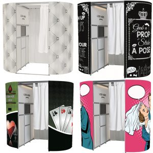 Selection of photo booths for hire in Addlestone