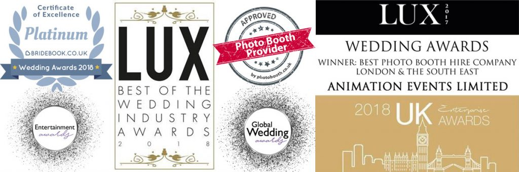 Awards received by Animation Events for Photo Booth Hire in Surrey, London, Hampshire and Berkshire