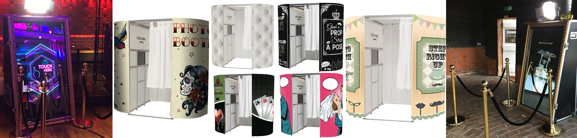 Selection of photo booths hire in Brighton, west Sussex