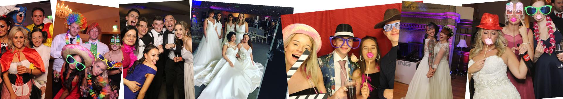 Brides at wedding with magic mirror photo booth hire in farnham