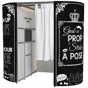 This classic black and white, vintage chalk board photo booth is green screen enabled and available to hire from £349.00 during the weekend with weekday discounts available