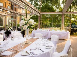 Image of the terrace at oatlands park hotel the ideal position for a wedding photo booth